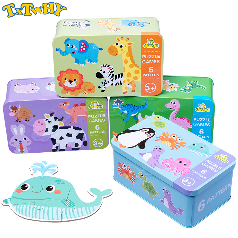 Children's New Wooden Puzzle Baby Early Educational Toys Cartoon Animal Traffic Wood Jigsaw Puzzles Of The Six-in-One Toy