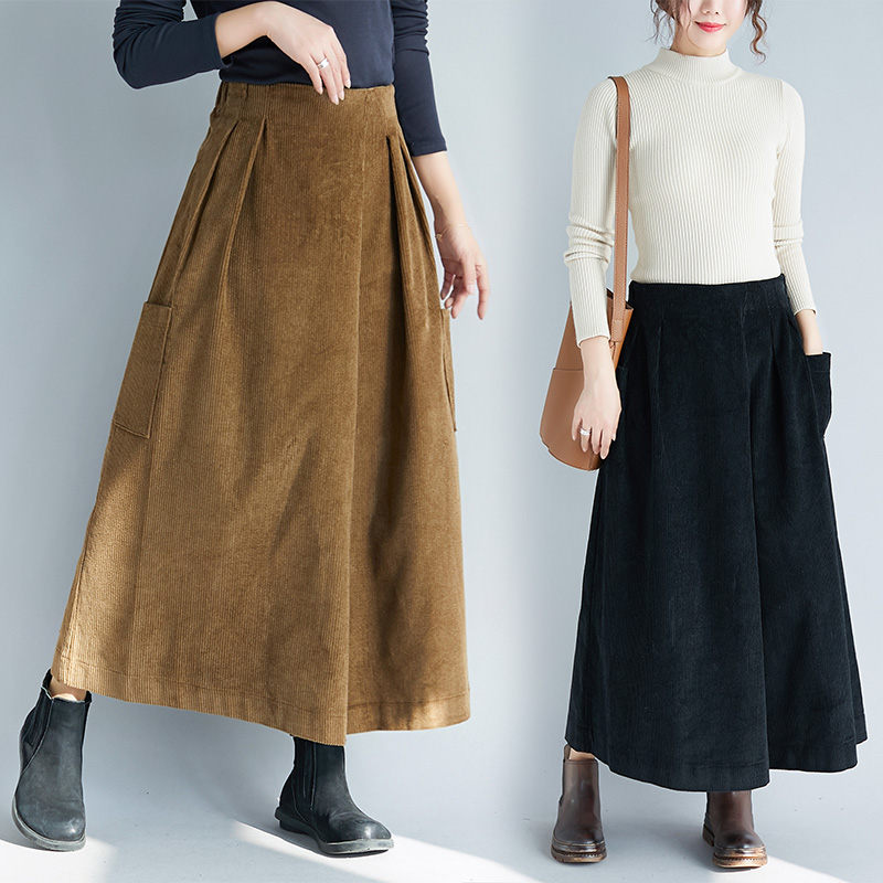 Retro Corduroy   Wide     Leg     Pants   Female Autumn Winter Fashion Large Size Wild A -line   Pants   Skirt Casual High Waist Trousers f1860