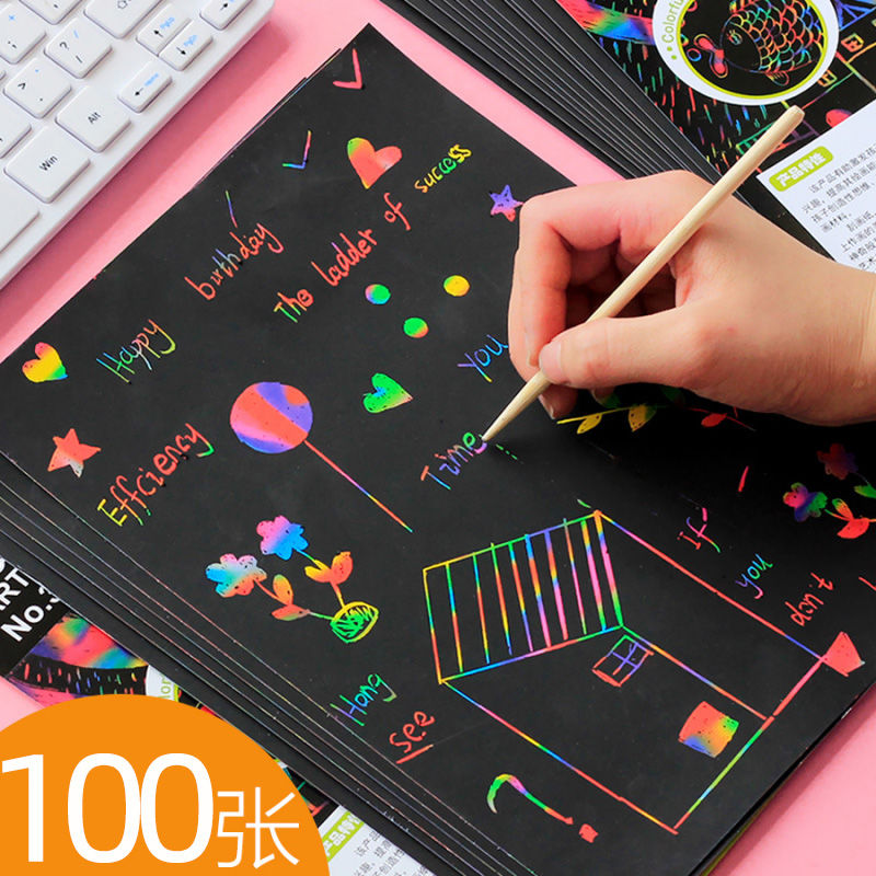 100 pieces of children's colorful scraping paper kindergarten scraping children's educational toys drawing book