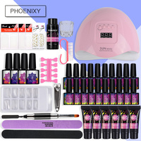 Nail Kit Poly Gel Kit 48w/80w UV Lamp Nail Gel Polish Set Quick Building For Nail Extensions Hard Jelly Gel Polygel Manicure Set