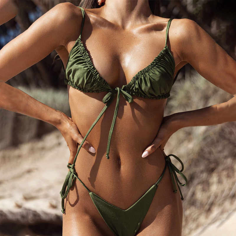 Di X Brasil Micro Bikini 2020 Mujer Seksi Tali Baju Renang Wanita Lipit Bikini Set Kuning Baju Renang Wanita Mini Mandi suit
