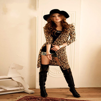 Free Shipping Ladies Fashion Classic Leopard  outerwear