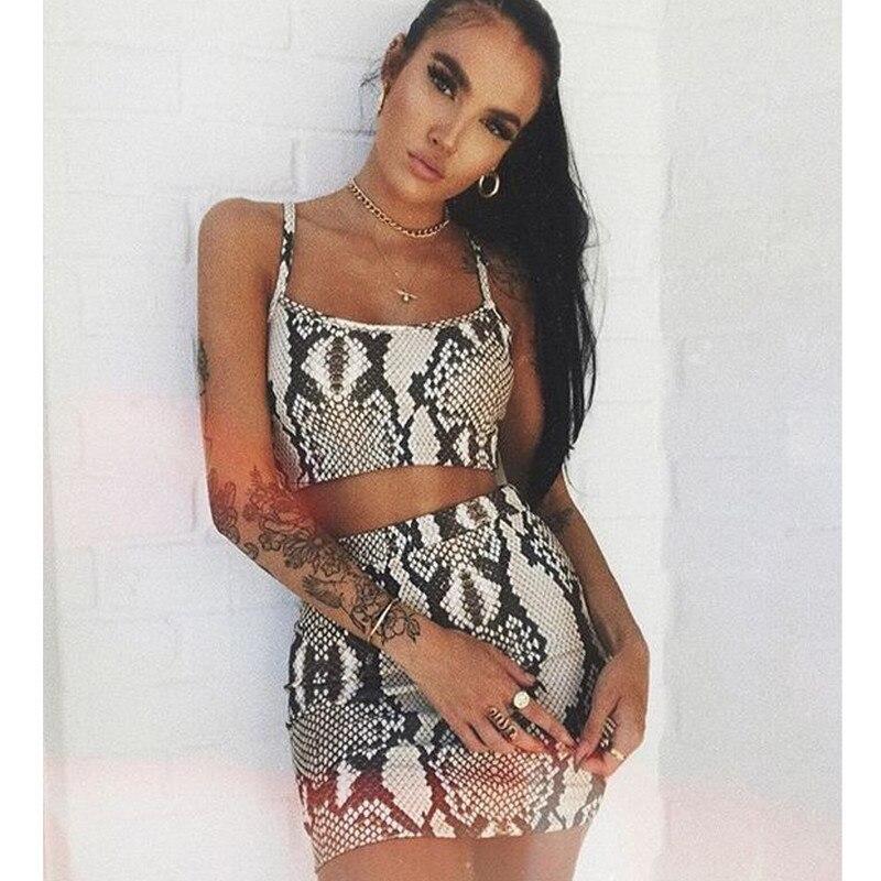2020 Women Sexy Sleeveless Snakeskin Print Crop Bodycon Mini Dress 2pcs Set Clubwear Hot