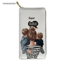 Twoheartsgirl Симпатичные супер мама девушки печати кожаные кошельки для женщин длинные женские дамы клатч сумочка ID карты Держатели кошелек