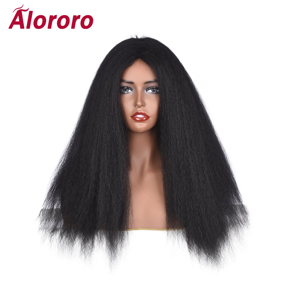 Alororo Natural Black Afro Wig Long Fluffy Synthetic Hair