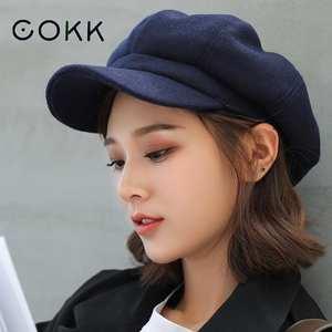 Hats Painter-Cap Beret Octagonal Plain Autumn Women Ladies COKK Solid for Casual Wool