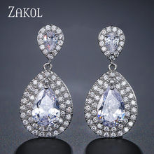 ZAKOL Luxury Micro Pave CZ Teardrop Zirconia Crystal Drop Earrings For Women Bridal Wedding Jewelry FSEP2156(China)