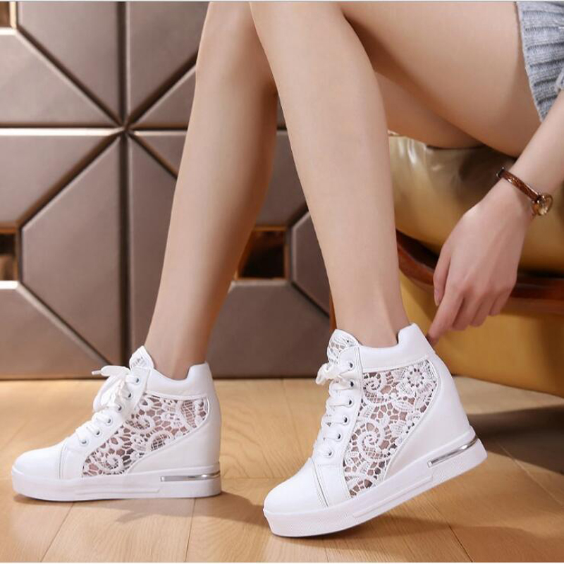 Women Wedge Platform Rubber Brogue Leather Lace Up High Heel Shoes Pointed Toe Increasing Creepers White Silver Sneakers C130