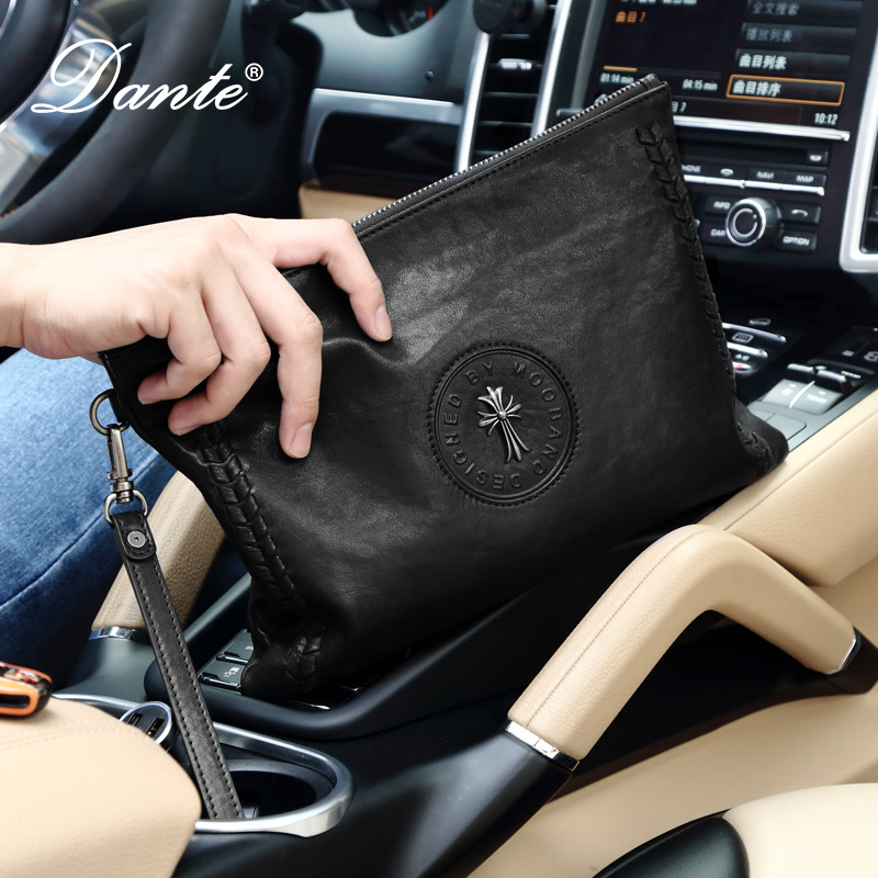 Dante hommes organisateur portefeuilles en cuir véritable fermeture éclair ouvert pochette matériel souple 100% cuir de vache longue sac à main téléphone sac