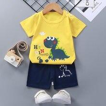 Crianças de verão conjunto de algodão puro bebê manga curta 2 peças roupas do menino conjunto de roupas do bebê da criança para o menino
