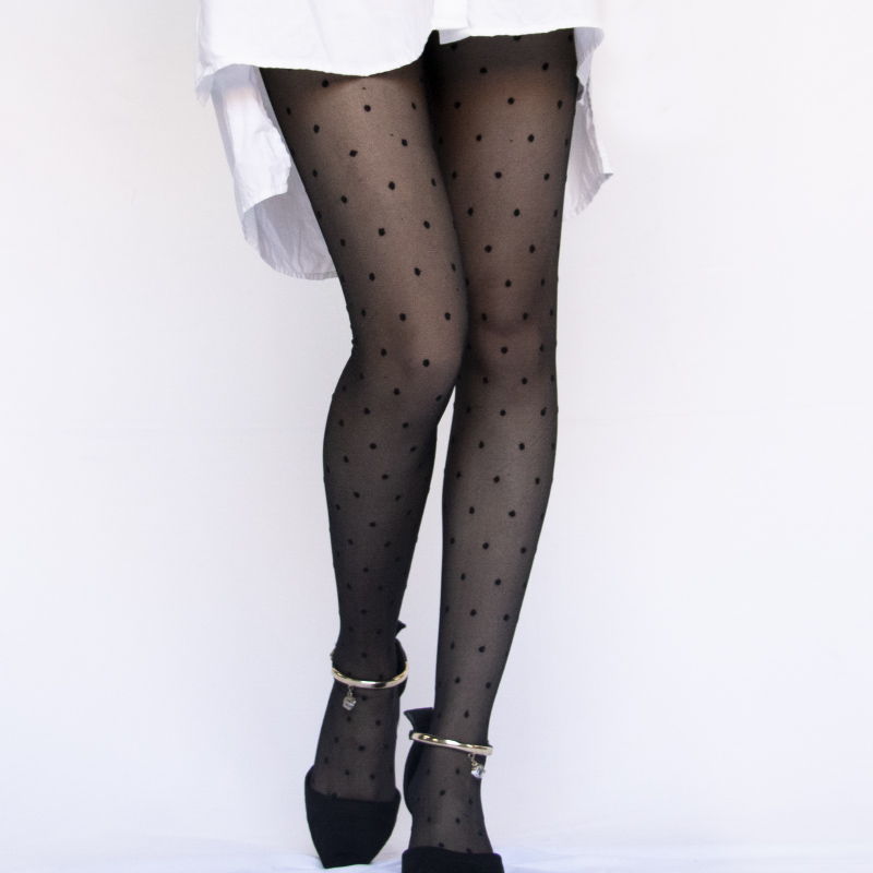 1PC Sexy Women Pantyhose Tights Summer Nylon Polka Dot Print Stockings Seamless Fishnet Mesh Female Hosiery Vintage Faux Tattoo 2
