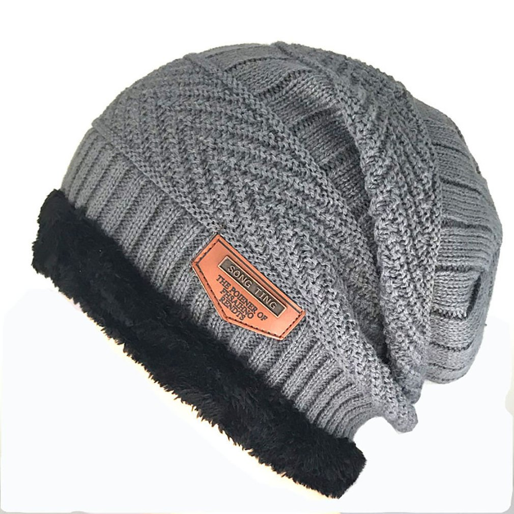 Men's Hat Knit Wool Hat Winter Plus Velvet Warm Cover Men's Outdoor Cap Warm Fashion Men's Winter Plush Hat Knitted Beanies