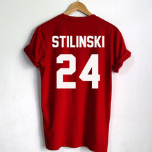 Stilinski camiseta feminina estampada, 24 letras, manga curta, harajuku kawaii, camiseta vermelha, plus size, blusas para mulheres gai mulheres