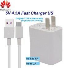 Huawei carregador rápido nos para mate9 10pro p10plus supercharge viagem rápida adaptador de parede 5 v/4.5a 4.5 v/5a 5 v/2a tipo-c 3.0 cabo usb