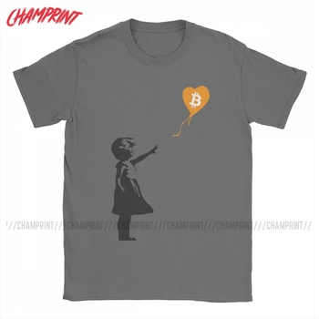 Awesome Bitcoin Balloon Girl Banksy T-Shirt for Men 100% Cotton T Shirts Crypto BTC Short Sleeve Tee Shirt Graphic Clothes 1