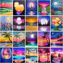 5D DIY Diamond Painting Cartoon Landscape Moon Sea Beach Coconut Tree Cross Stitch Kit Mosaic Art Picture Rhinestone Gift
