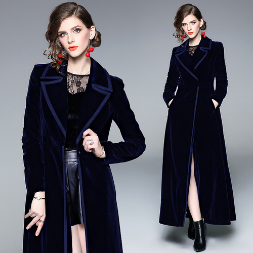 Velvet Women's Windbreakers Long Sleeve Lace Up Maxi Trench Coat Female Fashion Navy Blue Outerwear