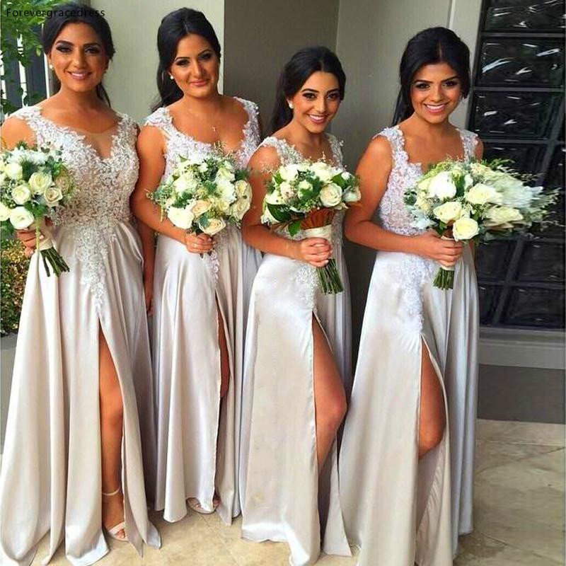 Gray Silver Summer Country Garden Bridesmaid Dress Fancy New V-neck Wedding Party Guest Maid Of Honor Gown Plus Size Custom Made