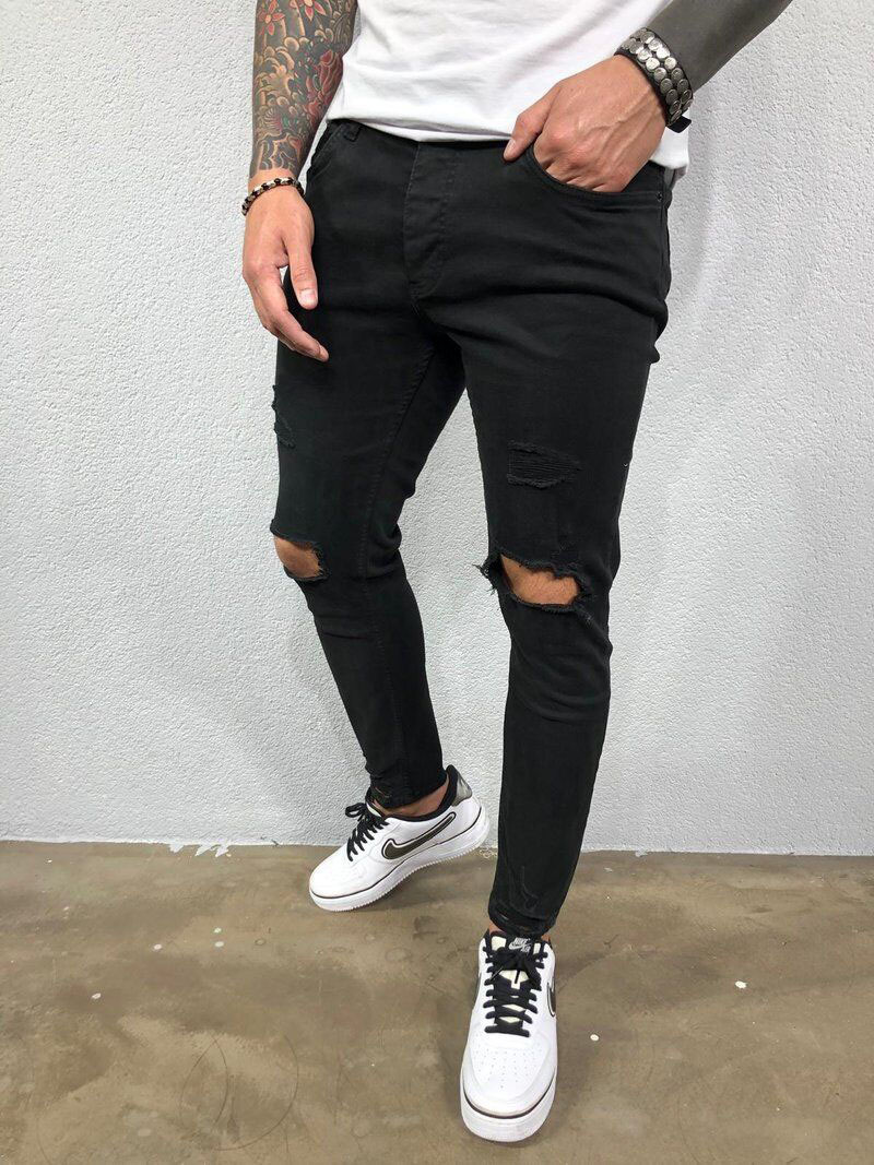 Mens Jeans Black Blue Cool Skinny Ripped Stretch Slim Elastic Denim Pants Large Size For Male Spring Summer Autumn Hip Hop