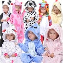 Kigurumi Kids Unicorn Pajamas for Baby Girls Licorne Sleepwear Cartoon Panda Flannel Pyjamas Children's Stitch Pijamas Onesies