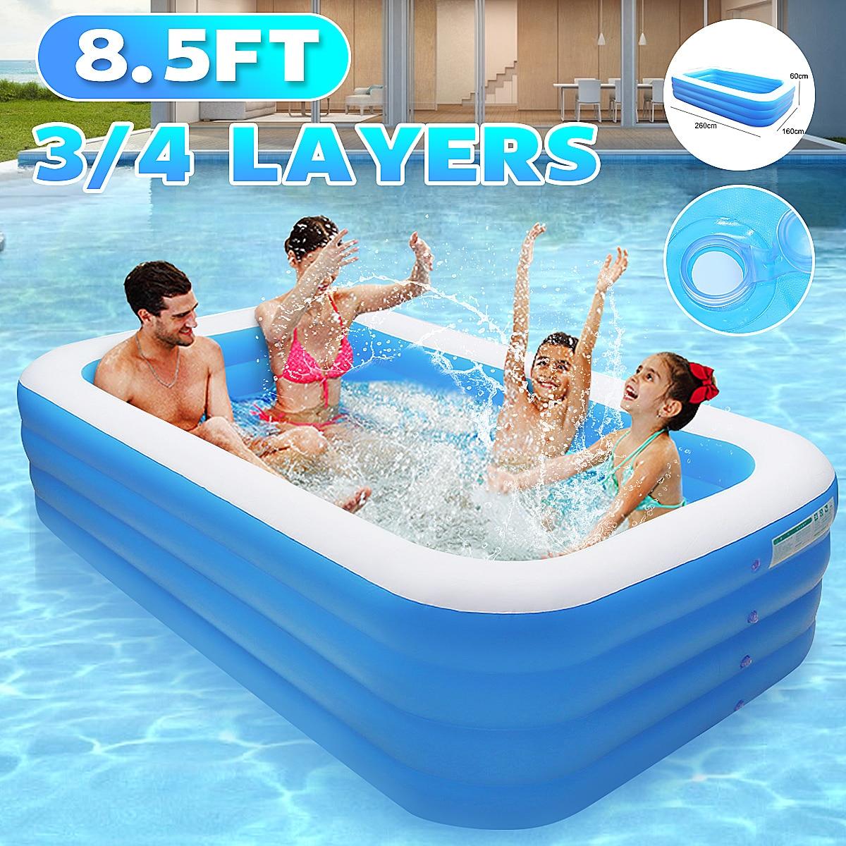 Надувной бассейн для дома, для взрослых и детей, 3/4 слоя, 260x160x6 0/72 см