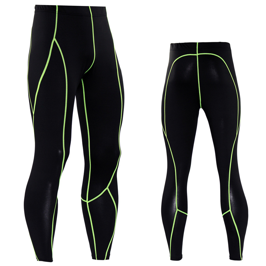 Solid Color Lines Tight Pants Men's Sports Pro Compression Pants Basketball Football Base Training Pants Running