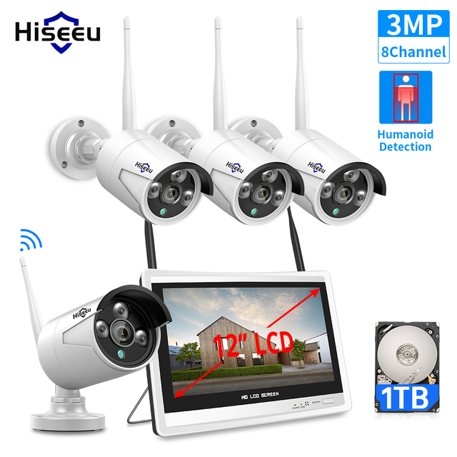 Hiseeu 3MP 8CH Wireless NVR Kits 12 LCD display 1536P HD outdoor security IP Camera video surveillance wifi cctv camera system