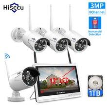 """Hiseeu 3MP 8CH bezprzewodowy NVR zestawy 12 """"wyświetlacz LCD 1536P HD bezpieczeństwo zewnętrzne IP kamera wideo nadzoru kamera cctv z obsługą wi fi systemu"""