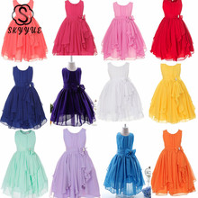 Skyyue Flower Girl Dress O-neck Bow Dresses for Girls Elegant Sleeveless Blue Orange Rose Red Green Kid Party Ball Gowns 930 children pageant evening ball gowns girls party dress kids elegant glitz red yellow blue emerald green flower girl dresses