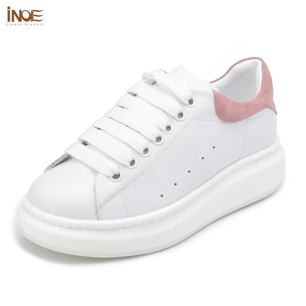 INOE แฟชั่นผู้หญิงฤดูใบไม้ผลิสบายๆรองเท้าผ้าใบของแท้วัวหนังฤดูใบไม้ร่วงรองเท้าส้นสีขาวสีดำสีแดง Clearance ขาย-ใน รองเท้าส้นเตี้ยสตรี จาก รองเท้า บน   1