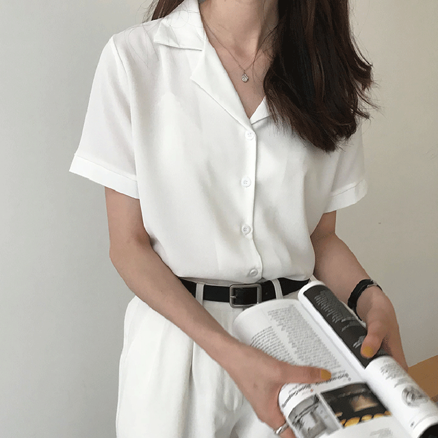Summer Blouse Shirt For Women Fashion Short Sleeve V Neck Casual Office Lady White Shirts Tops Japan Korean Style
