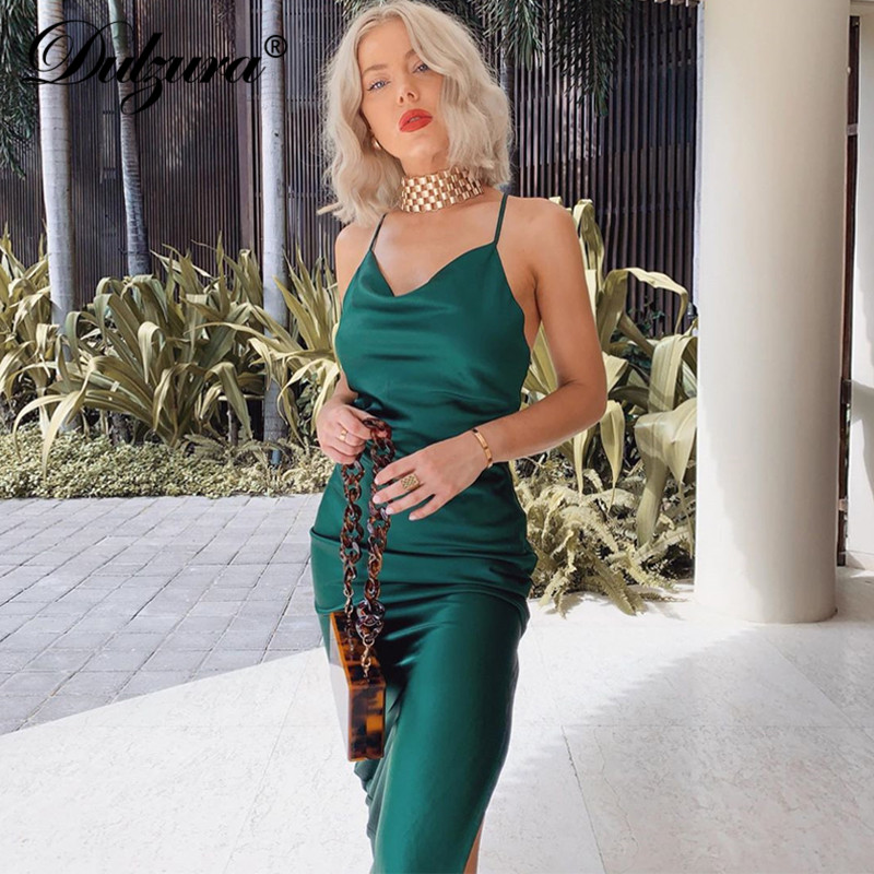 Dulzura satin silk women midi dress strap side slit backless sexy streetwear 2019 autumn winter party clothes elegant dinner 1