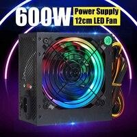 MAX 600W Power Supply 12cm Multicolor LED Fan Passive PFC Silent Fan ATX 24 pin 12V PC Computer SATA Gaming PC Power Supply|PC Power Supplies| |  -