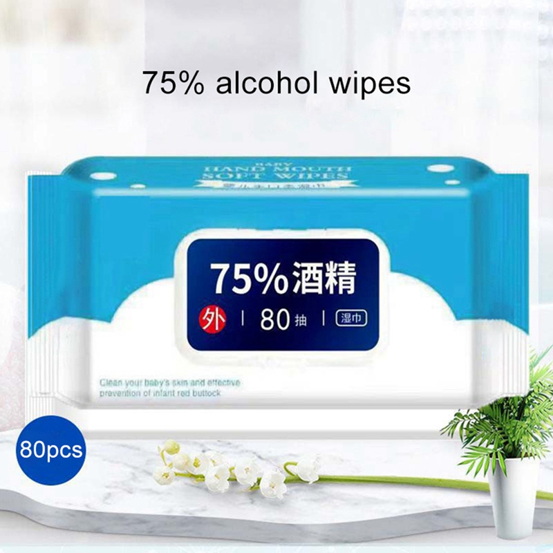 80pcs/Box Disposable Hand Portable Disinfection Disposable Wipes With Lid New Arrival