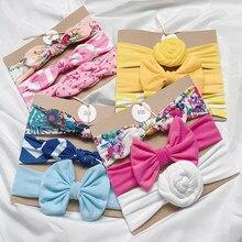 Bandes élastiques en coton avec points/bande/imprimé de fleur, Turban, 3 pièces/lot, accessoires cheveux pour enfants Bbay filles