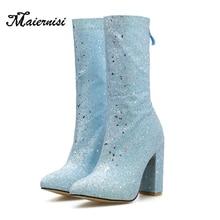 купить MAIERNISI Women boots Autumn high-heeled shoes Women's boots Sexy pointed toe thigh high platform boots дешево