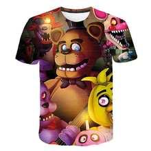 Zabawna gra Fnaf 3D T shirt nowy chłopiec FNAF t-shirty pięć nocy w Freddy #8217 s Summer Streetwear Tshirt T-shirt Anime kreskówkowe topy tanie tanio Poliester spandex Aktywny Drukuj REGULAR Dzieci O-neck tops Tees Krótki Pasuje prawda na wymiar weź swój normalny rozmiar