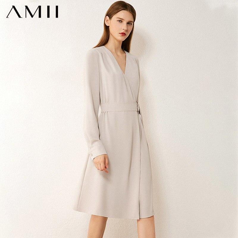 AMII Minimalism Autumn Women's Dress Fashion Olstyle Vneck High Waist Dresses For Women Knee-length Female Dress 12020299
