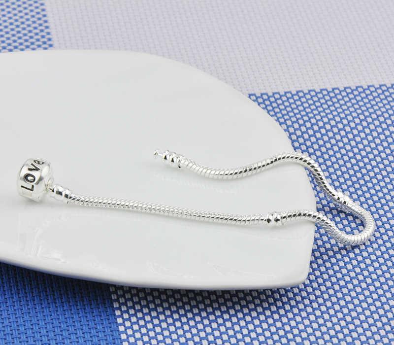 Yanhui 100% 925 スターリング love スネークチェーンブレスレットフィットオリジナルブランドビーズチャーム diy のブレスレットシルバー 925 ジュエリー