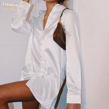 Повседневные белые тонкие женские блузки clacive с отложным
