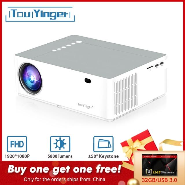 TouYinger M19 проектор Full HD 1080P 5800 люмен поддержка acсветодиодный led Видео Домашний кинотеатр Full HD фильм Beamer Android tv Box опционально