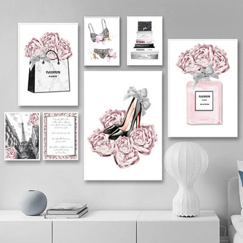 Fashion Wall Art Painting Perfume Poster Underwear Heels Canvas Print Pink Flower Trendy Picture Beauty Room Decoration perfume fashion poster eyelash lips makeup print canvas art painting pink flower wall picture modern girl room home decoration