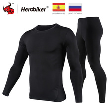 HEROBIKER Motorcycle Thermal Underwear Set Mens Motorcycle Skiing Winter Warm Base Layers Tight Long Johns Tops & Pants Set