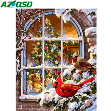 AZQSD Paints By Numbers Birds Pictures Oil Paintings Full Kits Animal Christmas Gift Coloring By Numbers 40x50cm(China)