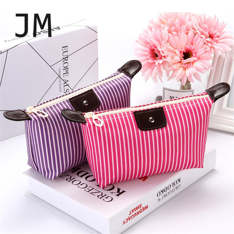JM Travel Organizer Toiletry Bag Strip Oxford Cosmetic Makeup Bag For Ladies Neceser Mujer Makeup Pouch Pink Women Makeup Case