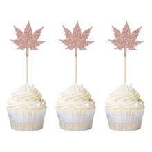 12pcs Rose Gold Maple Leaf Cupcake Toppers Thanks Picks Wedding Birthday Party Cake Decor