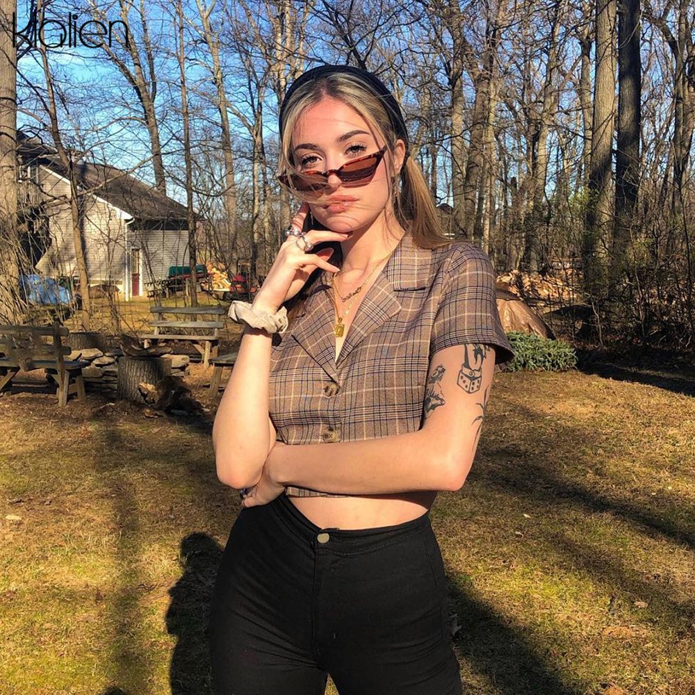KLALIEN button plaid lady blouse women pop clothes 2020 New summer female sexy streetwear short sleeve High street casual tops Blouses & Shirts  - AliExpress