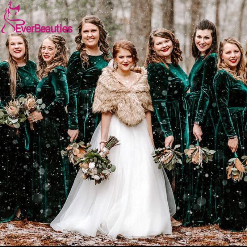 Muslim Bridesmaid Dresses Long 2020 Velour Full Cover Vestido De Festa Long Sleeves Robe Demoiselle D'Honneur