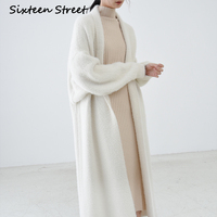 Oversized Wool Sweater Long Cardigans Woman Batwing Sleeve Keep Warm Runway Design Thicken Knitting Maxi Cardigan Female 2020