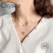 Ckysee novo 925 prata esterlina duplo link corrente sorriso rosto sol pingente colar para mulheres moda jóias presente